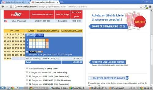 Je choisis de jouer au PowerBall, une des plus grosses loteries américaines