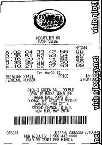 Copie scannée de mon ticket MegaMillions acheté aux USA par TheLotter