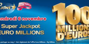 Super Jackpot de l'Euromillions ce vendredi 6 novembre